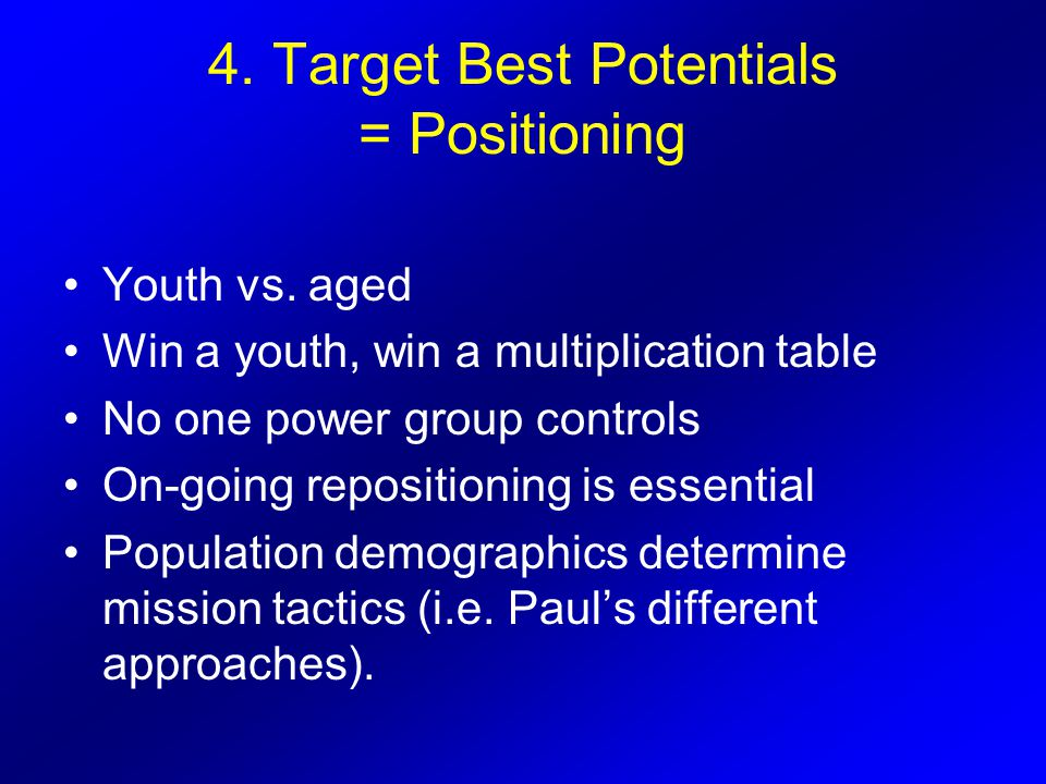 4. Target Best Potentials = Positioning Youth vs. aged Win a youth, win a multiplication table No one power group controls On-going repositioning is e