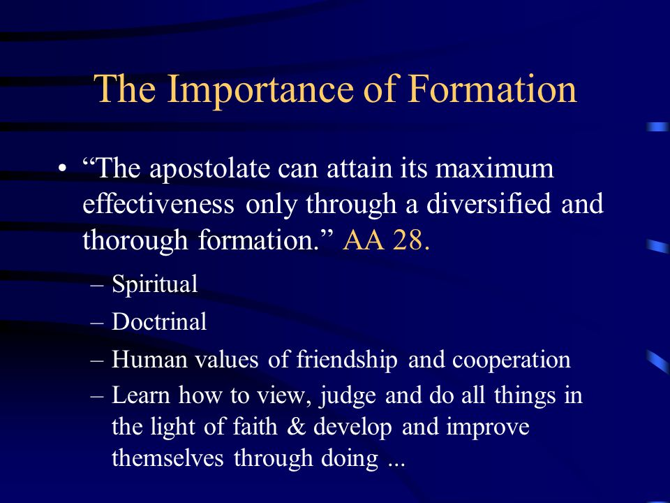 """The Importance of Formation """"The apostolate can attain its maximum effectiveness only through a diversified and thorough formation."""" AA 28. –Spiritual"""