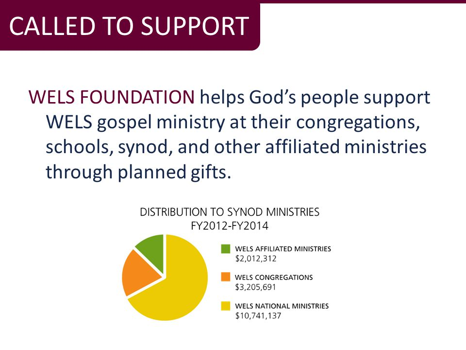 WELS FOUNDATION helps God's people support WELS gospel ministry at their congregations, schools, synod, and other affiliated ministries through planned gifts.