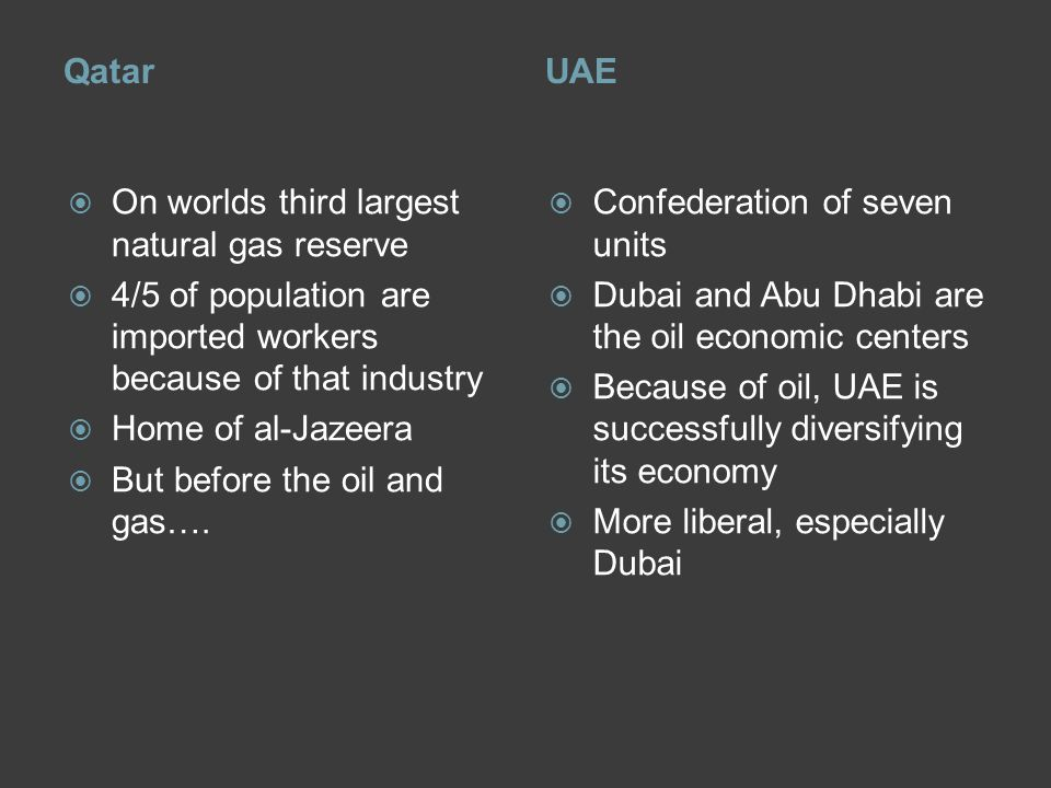 QatarUAE  On worlds third largest natural gas reserve  4/5 of population are imported workers because of that industry  Home of al-Jazeera  But before the oil and gas….