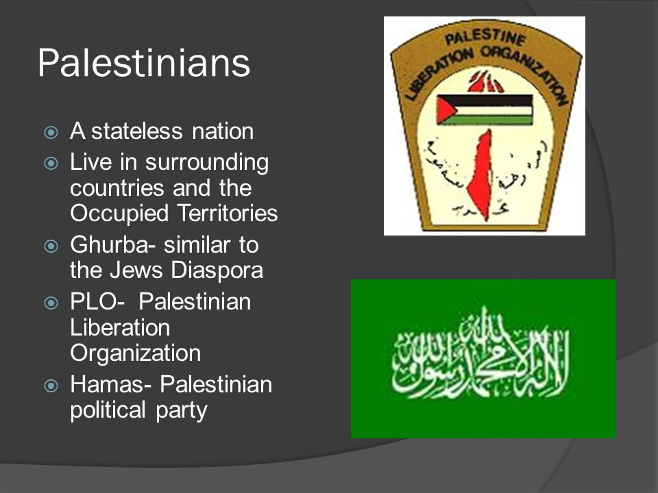 Palestinians  A stateless nation  Live in surrounding countries and the Occupied Territories  Ghurba- similar to the Jews Diaspora  PLO- Palestinian Liberation Organization  Hamas- Palestinian political party