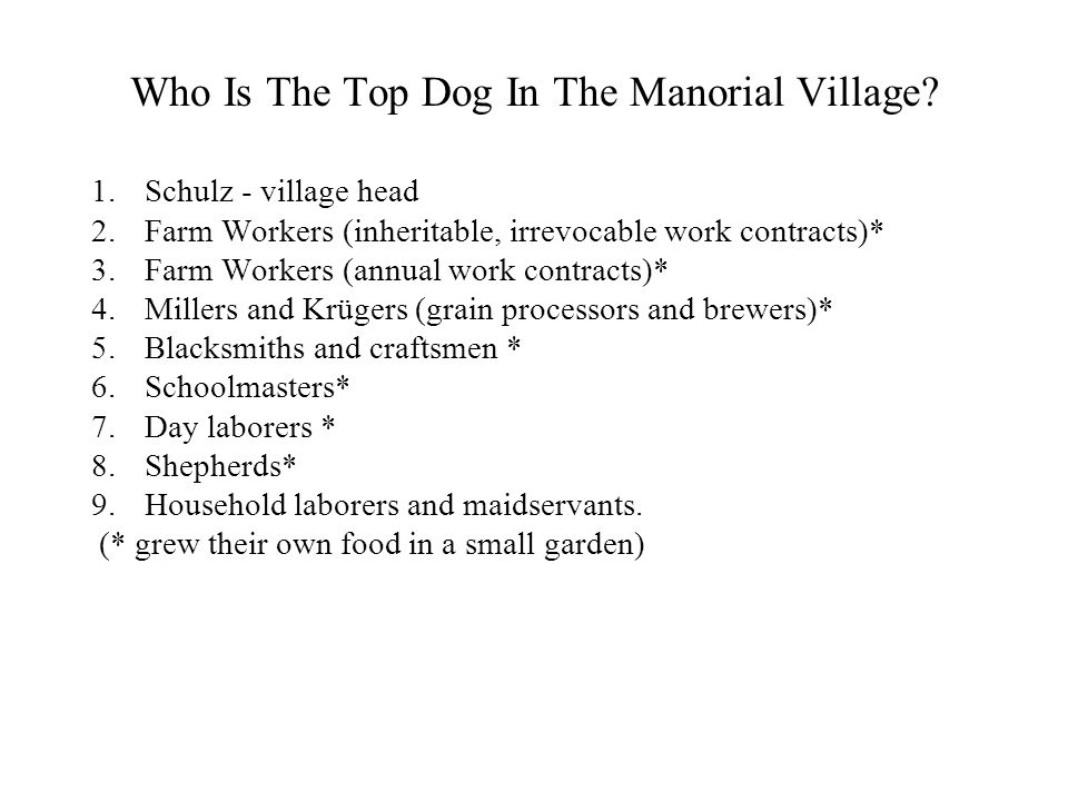 Who Is The Top Dog In The Manorial Village? 1.Schulz - village head 2.Farm Workers (inheritable, irrevocable work contracts)* 3.Farm Workers (annual w