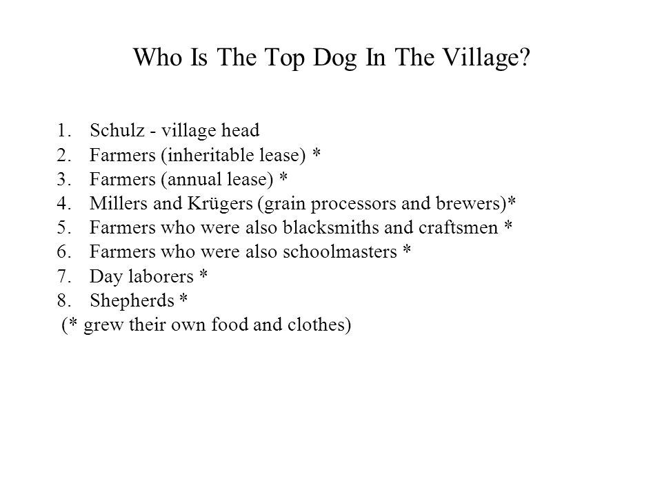 Who Is The Top Dog In The Village? 1.Schulz - village head 2.Farmers (inheritable lease) * 3.Farmers (annual lease) * 4.Millers and Krügers (grain pro