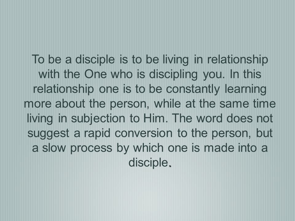 Discipleship is the process by which one is led to accept Jesus Christ as Lord and Savior, fully committed to a lifelong learning relationship and growing towards maturity in Christ.