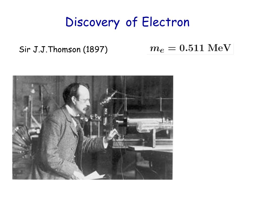 Discovery of Electron Sir J.J.Thomson (1897)