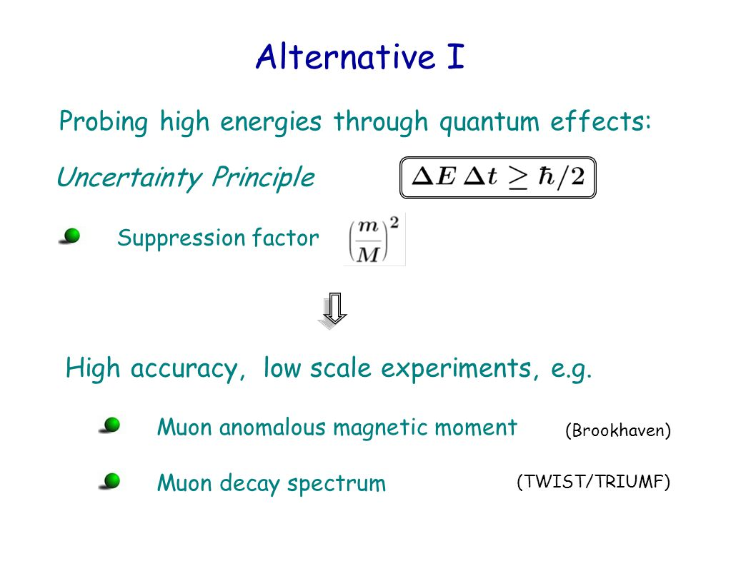 Alternative I Uncertainty Principle High accuracy, low scale experiments, e.g.
