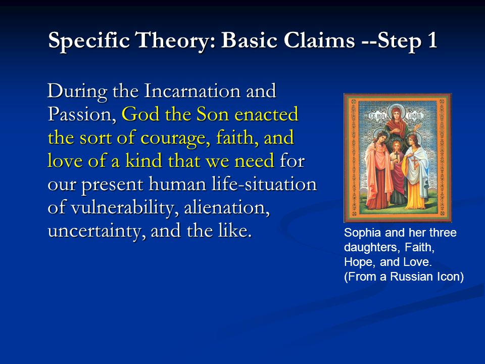 Specific Theory: Basic Claims --Step 1 During the Incarnation and Passion, God the Son enacted the sort of courage, faith, and love of a kind that we