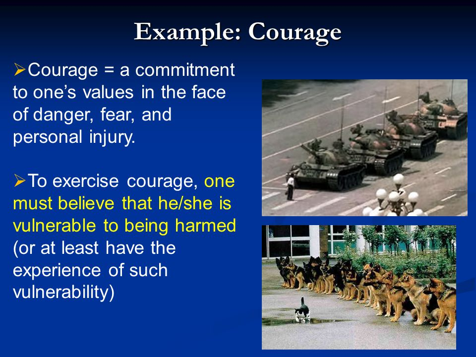 Example: Courage  Courage = a commitment to one's values in the face of danger, fear, and personal injury.  To exercise courage, one must believe th