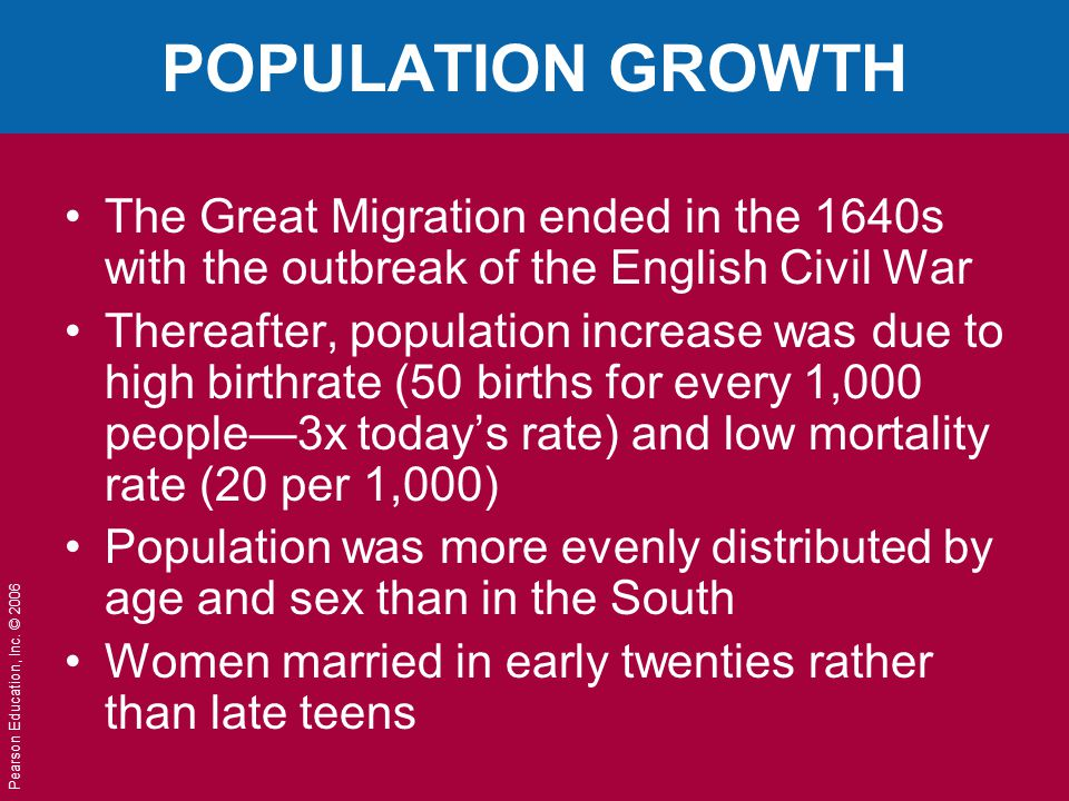 Pearson Education, Inc. © 2006 POPULATION GROWTH The Great Migration ended in the 1640s with the outbreak of the English Civil War Thereafter, populat
