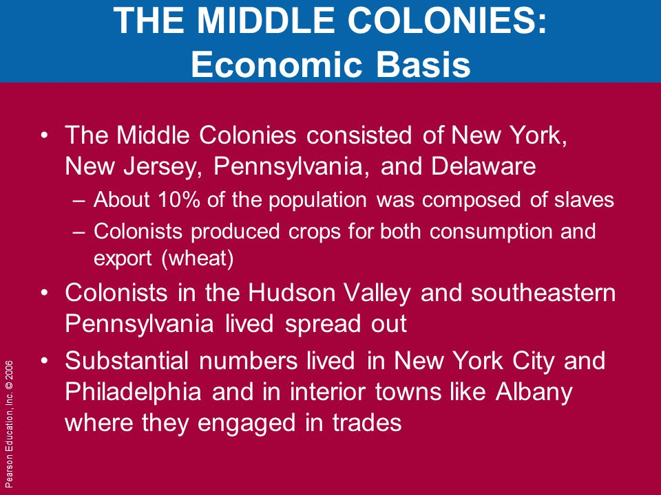 Pearson Education, Inc. © 2006 THE MIDDLE COLONIES: Economic Basis The Middle Colonies consisted of New York, New Jersey, Pennsylvania, and Delaware –