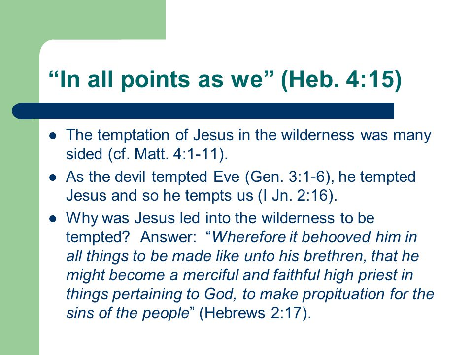 In all points as we (Heb. 4:15) The temptation of Jesus in the wilderness was many sided (cf.