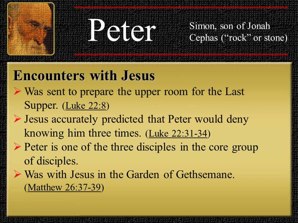 Peter Simon, son of Jonah Cephas ( rock or stone) Encounters with Jesus  When Jesus appeared to the disciples beside the Sea of Galilee following his resurrection, he tested Peter's loyalty by asking Peter if he loved him.