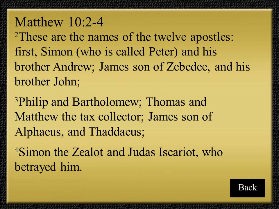 16 These are the twelve he appointed: Simon (to whom he gave the name Peter), 17 James son of Zebedee and his brother John (to them he gave the name Boanerges, which means Sons of Thunder, 18 Andrew, Philip, Bartholomew, Matthew, Thomas, James son of Alphaeus, Thaddaeus, Simon the Zealot, 19 and Judas Iscariot, who betrayed him.