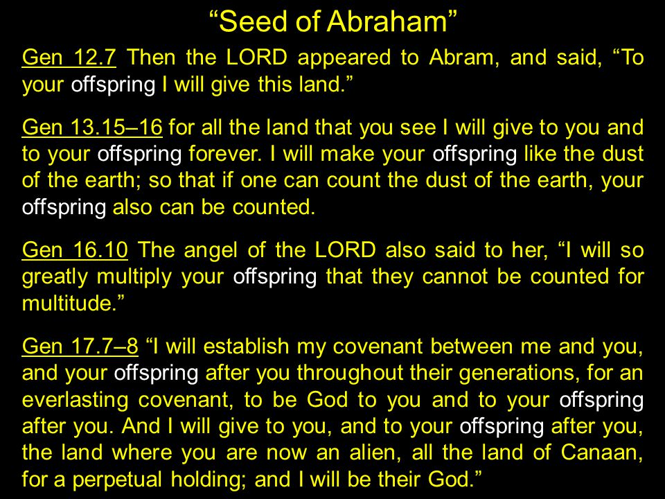 """Seed of Abraham"" Gen 12.7 Then the LORD appeared to Abram, and said, ""To your offspring I will give this land."" Gen 13.15–16 for all the land that yo"