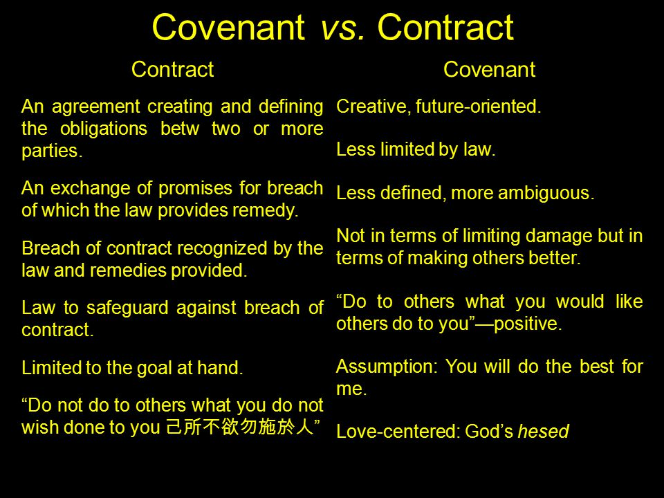 Covenant vs. Contract Contract An agreement creating and defining the obligations betw two or more parties. An exchange of promises for breach of whic