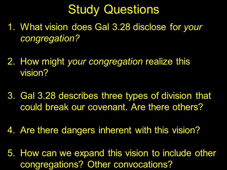 Study Questions 1. What vision does Gal 3.28 disclose for your congregation? 2. How might your congregation realize this vision? 3. Gal 3.28 describes