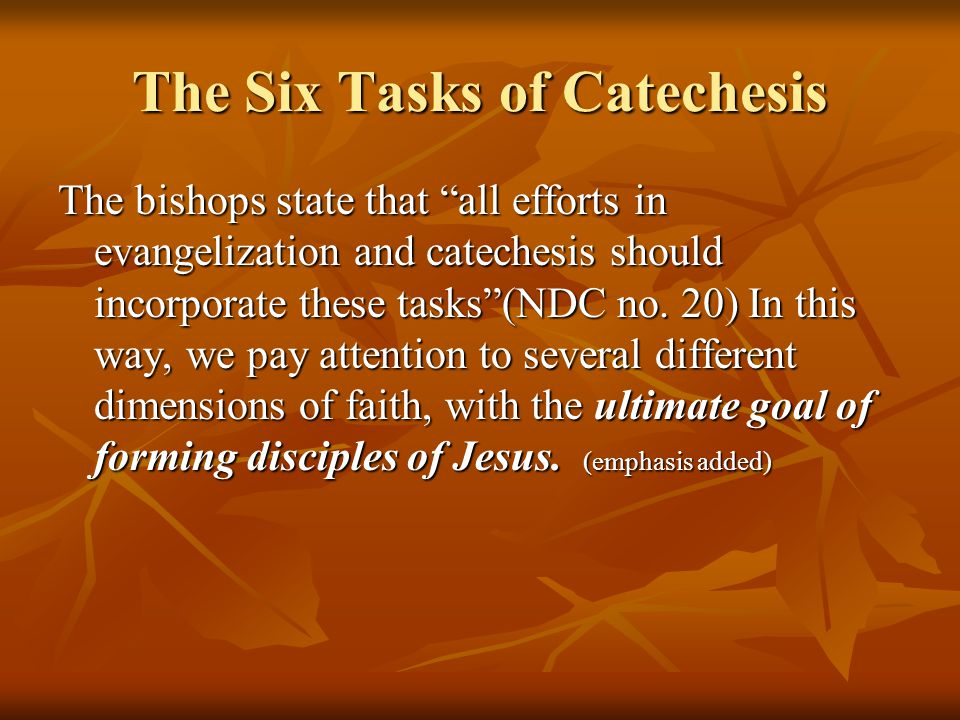 """The Six Tasks of Catechesis The bishops state that """"all efforts in evangelization and catechesis should incorporate these tasks""""(NDC no. 20) In this w"""