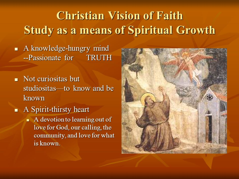 Christian Vision of Faith Study as a means of Spiritual Growth A knowledge-hungry mind --Passionate for TRUTH A knowledge-hungry mind --Passionate for