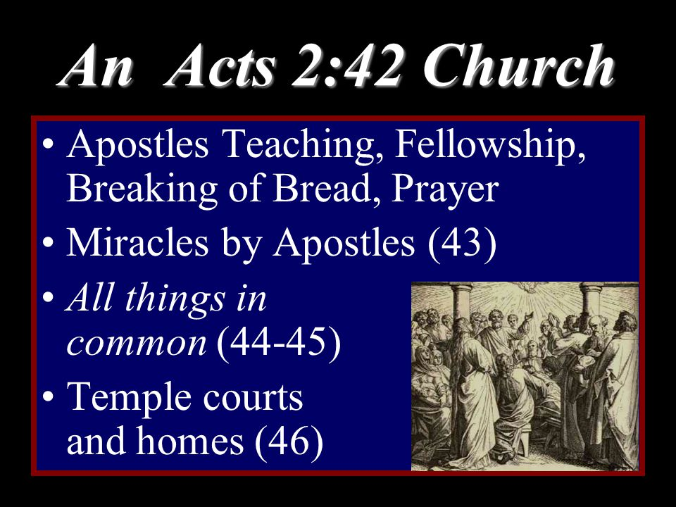 An Acts 2:42 Church Apostles Teaching, Fellowship, Breaking of Bread, Prayer Miracles by Apostles (43) All things in common (44-45) Temple courts and homes (46)