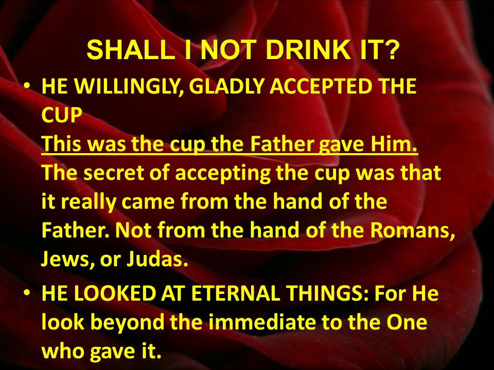 SHALL I NOT DRINK IT. HE WILLINGLY, GLADLY ACCEPTED THE CUP This was the cup the Father gave Him.