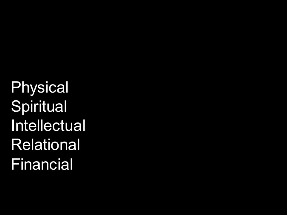 Physical Spiritual Intellectual Relational Financial