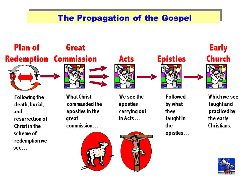 The Propagation of the Great Commission The Propagation of the Gospel Following the death, burial, and resurrection of Christ in the scheme of redempt