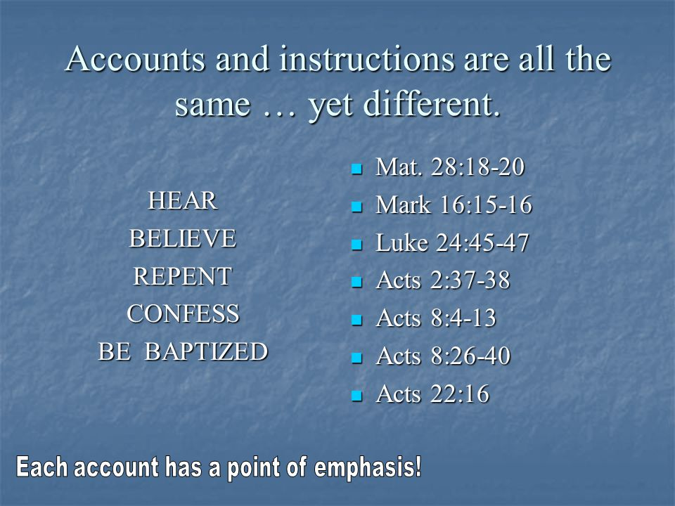 Accounts and instructions are all the same … yet different.