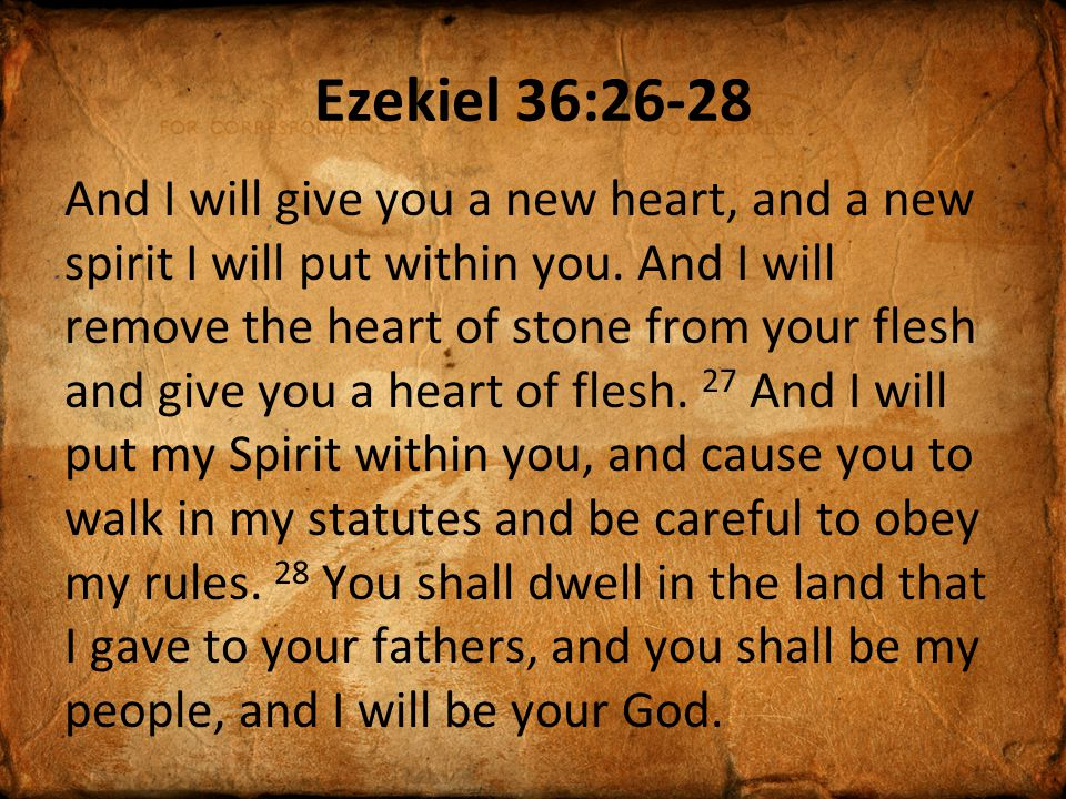 Ezekiel 36:26-28 And I will give you a new heart, and a new spirit I will put within you.