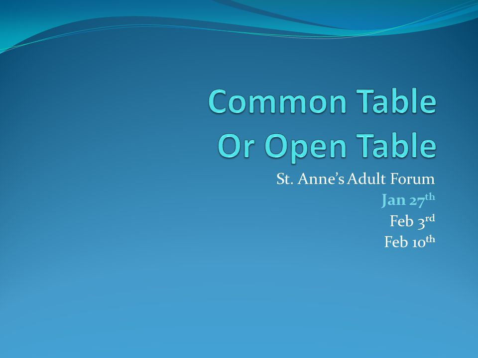 What is Open Table?