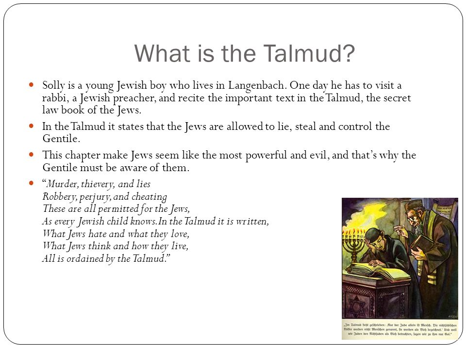 What is the Talmud. Solly is a young Jewish boy who lives in Langenbach.