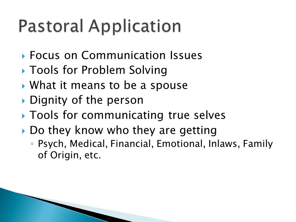  Focus on Communication Issues  Tools for Problem Solving  What it means to be a spouse  Dignity of the person  Tools for communicating true selves  Do they know who they are getting ◦ Psych, Medical, Financial, Emotional, Inlaws, Family of Origin, etc.