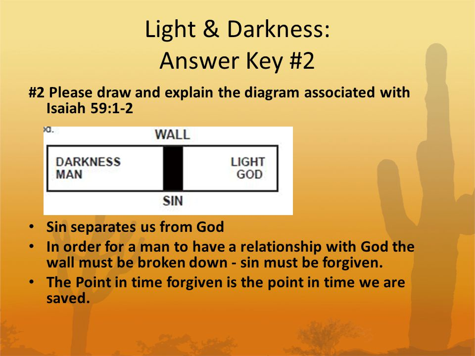 Light & Darkness: Answer Key #3 #3 Please draw and explain the diagram from Rom 3:23 Everyone has sinned.