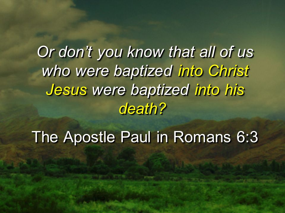 Can you drink the cup I drink or be baptized with the baptism I am baptized with?...