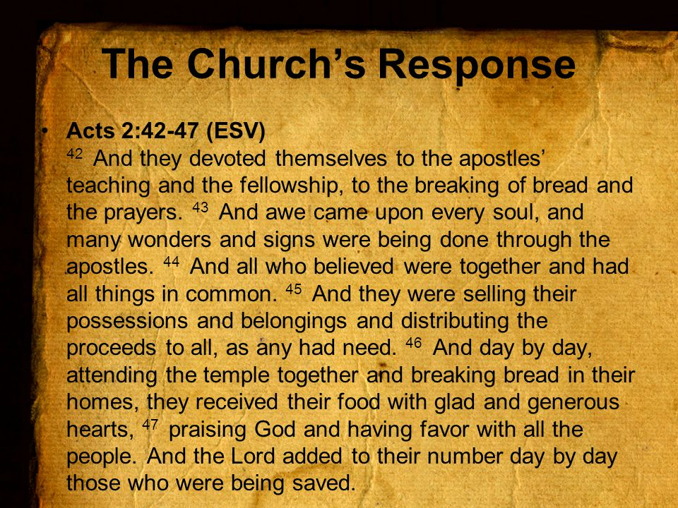 The Church's Response Acts 2:42-47 (ESV) 42 And they devoted themselves to the apostles' teaching and the fellowship, to the breaking of bread and the prayers.