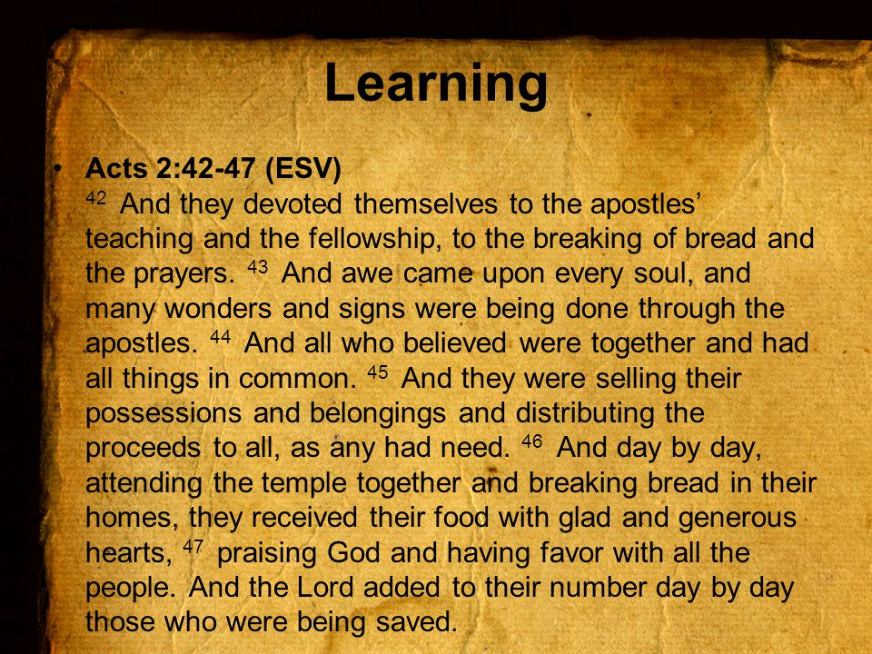 Acts 2:42-47 (ESV) 42 And they devoted themselves to the apostles' teaching and the fellowship, to the breaking of bread and the prayers.