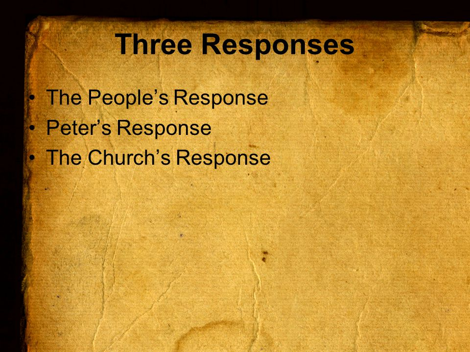Peter's Response Introduction Message Application What shall we do?