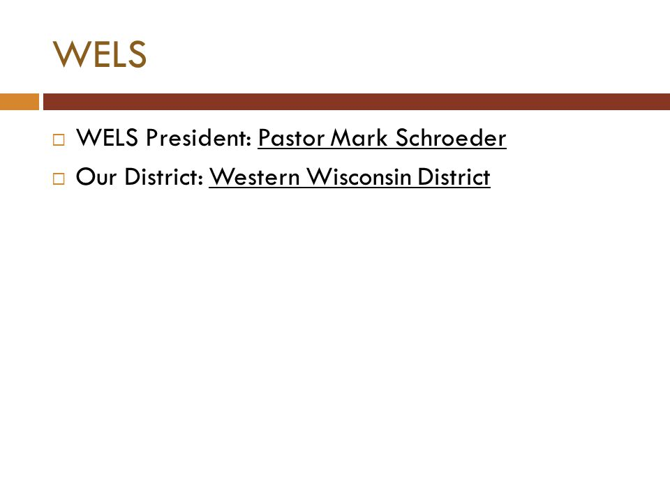 WELS  WELS President: Pastor Mark Schroeder  Our District: Western Wisconsin District