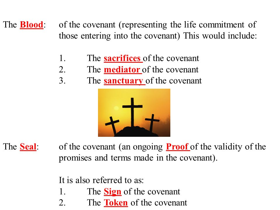 The Blood:of the covenant (representing the life commitment of those entering into the covenant) This would include: 1.The sacrifices of the covenant