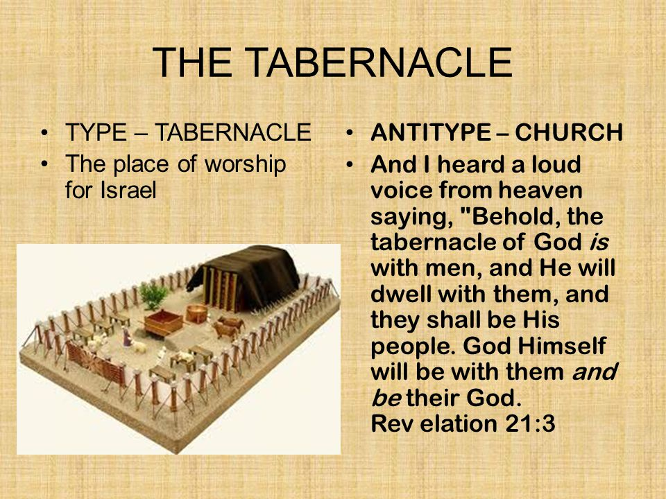 TYPE – TABERNACLE The place of worship for Israel ANTITYPE – CHURCH And I heard a loud voice from heaven saying,