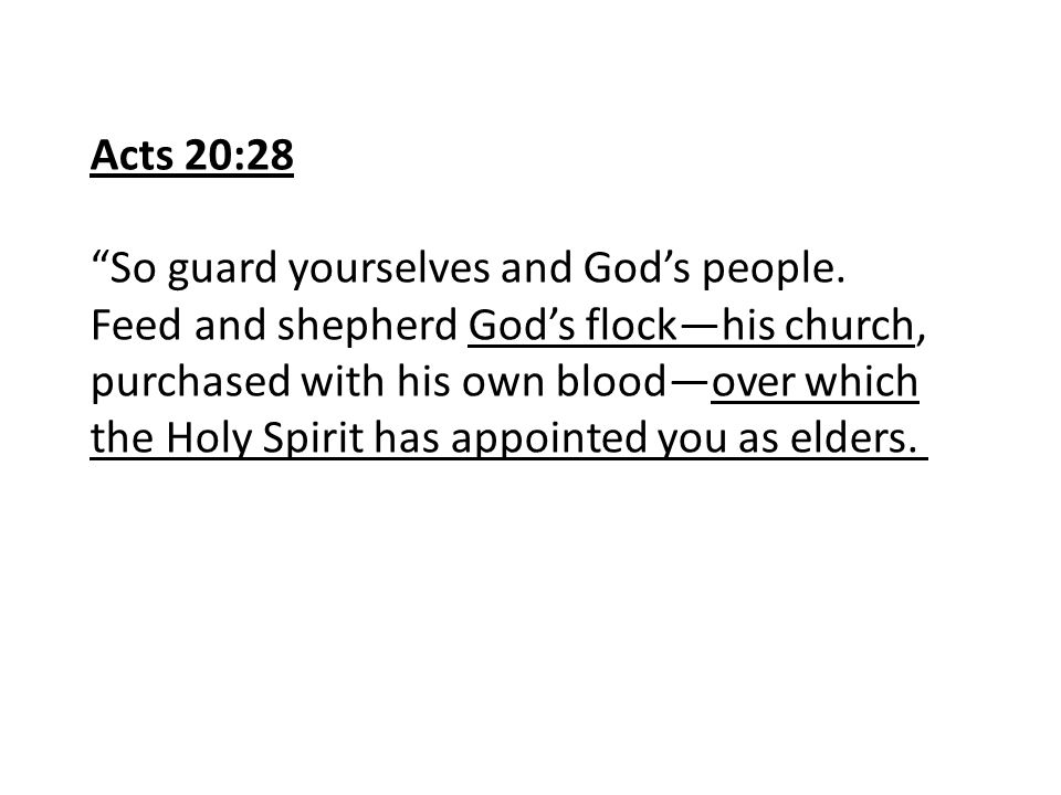 """Acts 20:28 """"So guard yourselves and God's people. Feed and shepherd God's flock—his church, purchased with his own blood—over which the Holy Spirit ha"""