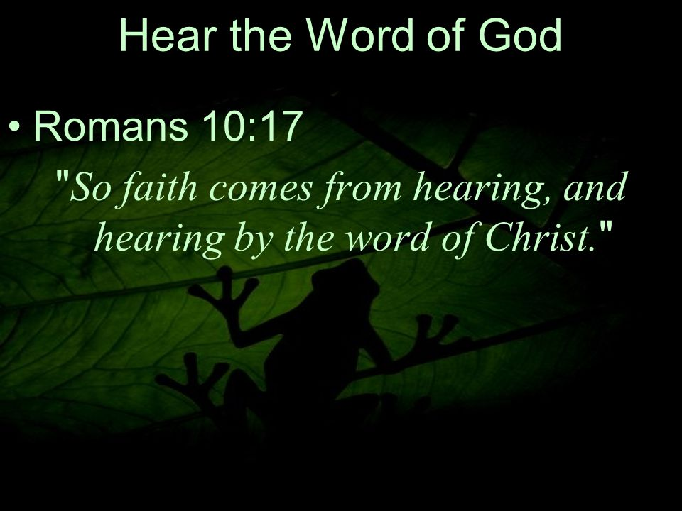 23 Hear the Word of God Romans 10:17 So faith comes from hearing, and hearing by the word of Christ.