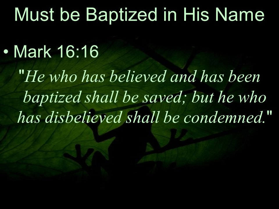 28 Must be Baptized in His Name Mark 16:16 He who has believed and has been baptized shall be saved; but he who has disbelieved shall be condemned.