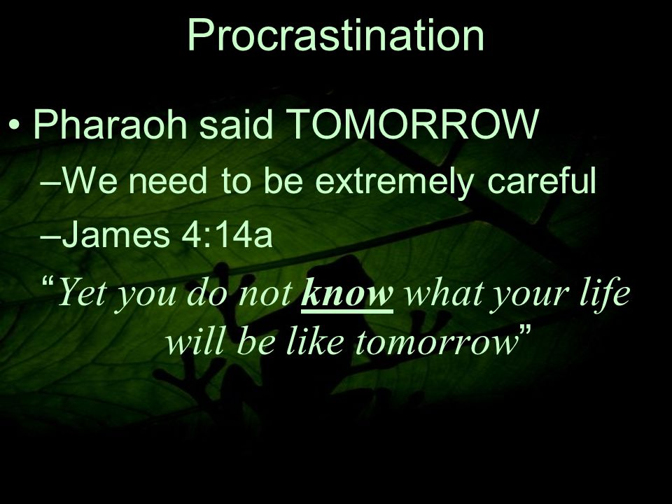 7 Procrastination Pharaoh said TOMORROW –W–We need to be extremely careful –J–James 4:14a Yet you do not know what your life will be like tomorrow