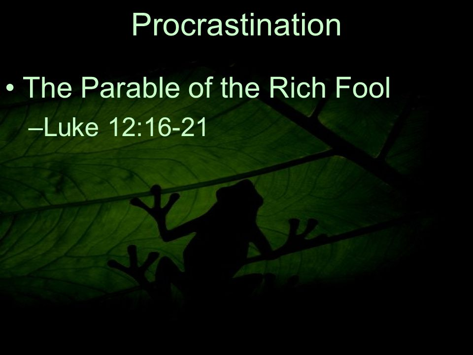 9 The Parable of the Rich Fool –L–Luke 12:16 ‑ 21