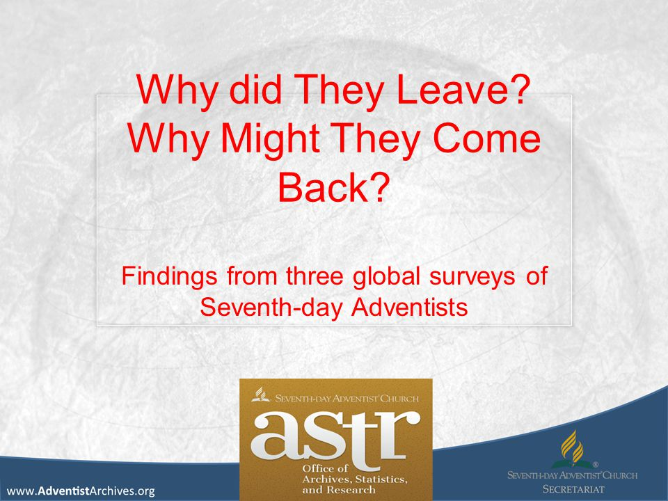 Why did They Leave? Why Might They Come Back? Findings from three global surveys of Seventh-day Adventists