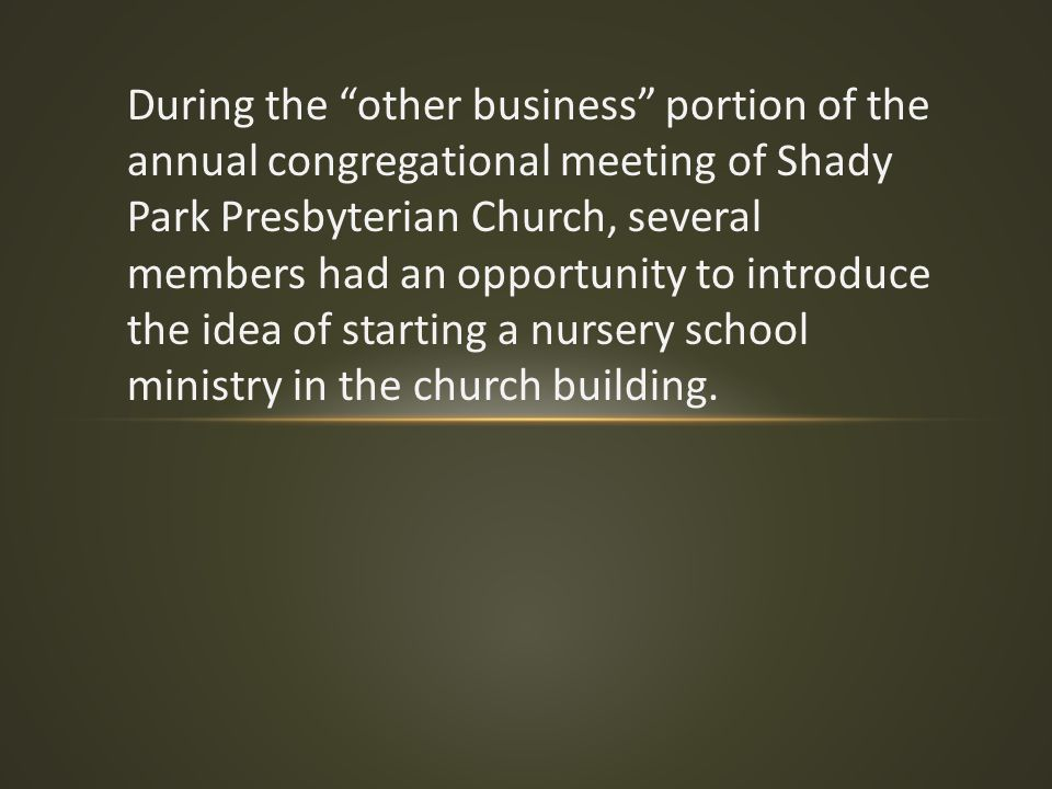 "During the ""other business"" portion of the annual congregational meeting of Shady Park Presbyterian Church, several members had an opportunity to intr"