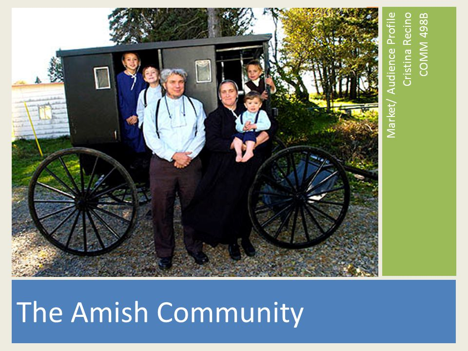 The Amish Community Market/ Audience Profile Cristina Recino COMM 498B