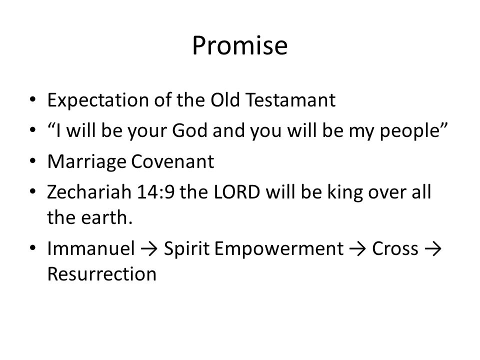 "Promise Expectation of the Old Testamant ""I will be your God and you will be my people"" Marriage Covenant Zechariah 14:9 the LORD will be king over al"