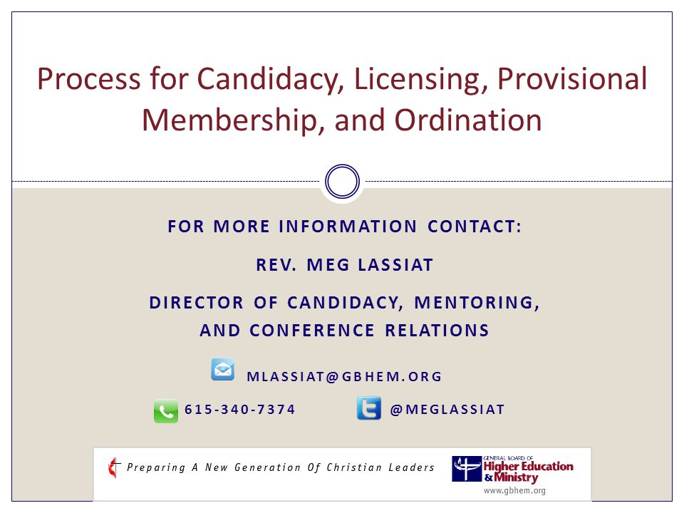 FOR MORE INFORMATION CONTACT: REV.