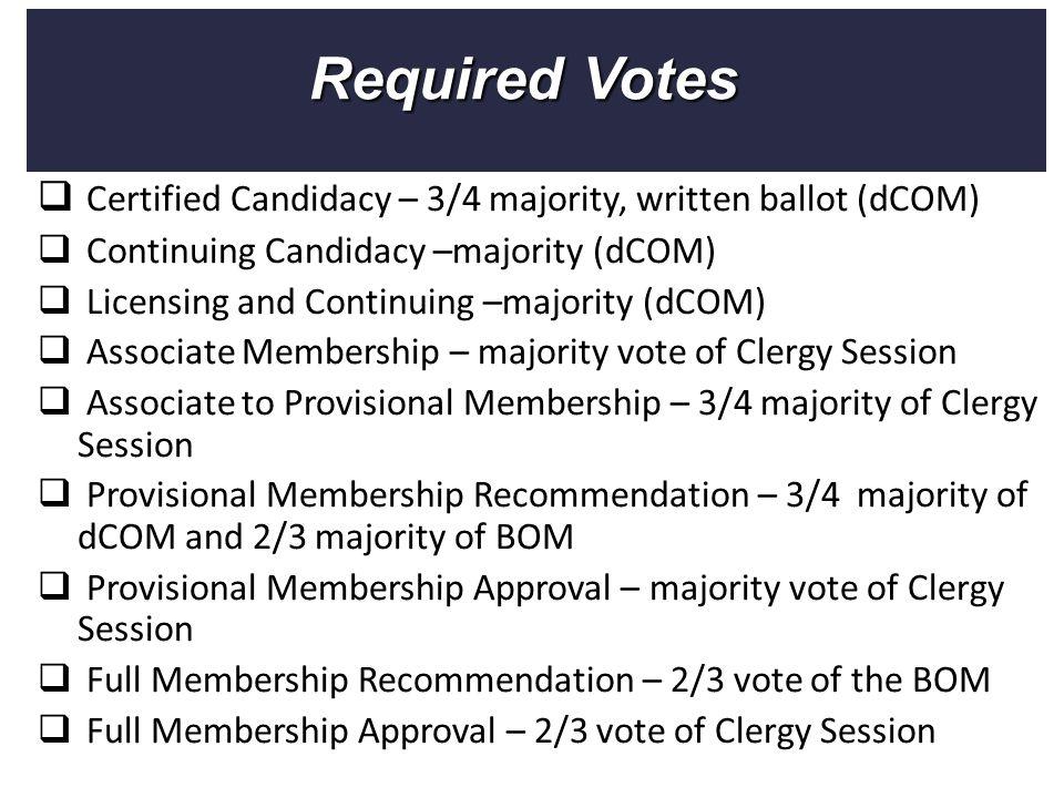  Certified Candidacy – 3/4 majority, written ballot (dCOM)  Continuing Candidacy –majority (dCOM)  Licensing and Continuing –majority (dCOM)  Asso